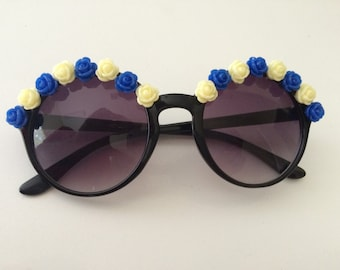 Floral Sunglasses--Black Round Sunglasses with Blue and Cream Roses