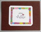 Hello card with colorful edging