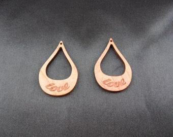 Love - engraved laser cut wood earrings