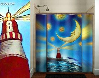 lighthouse moon ocean whimsical nautical shower curtain kids bathroom decor bath fabric window curtains panel bathmat