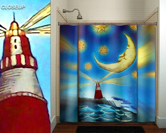 Lighthouse moon ocean whimsical nautical shower curtain kids for Bathroom decor lighthouse