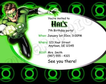 Green Lantern Birthday Invitation - Printable