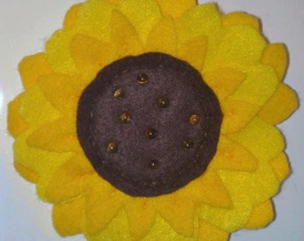 Handmade Felt Sunflower Brooch