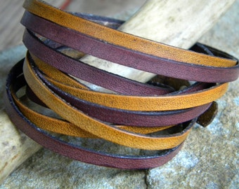 Leather Bracelet, 5 Wrap,Tan and Mahogany  split  design geunine leather handmade  bracelet