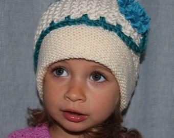 Knitted hat. Girls ivory/aqua hat. Flower hat. Crochet hat. Girls hat. Age 2-3