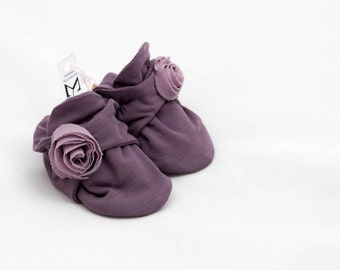 Baby infant, purple jersey fabrics, flower decorative, double shoes * Newborn