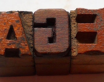 Antique Letterpress Age 12mm Wood Type Printers Blocks Lot of3 typography collection  #10