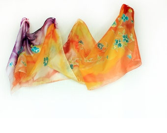 Silk Scarf Painted in  Orange Yellow and Purple, Painted Violet Flowers, Luxury Long Silk Scarf, Women Silk Accessory, Summer Silk Scarf