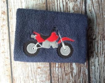 Custom embroidered dirt bike towel