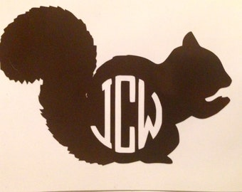 Monogrammed Squirrel Vinyl Decal for Laptops, Cars, Accessories