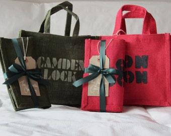 Little London/Camden Lock Jute Bag, hand printed, Green or Red, lunch bag, tourist