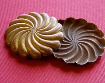 M 106 Antique Ormolu Pressed Bronze Spiral Medallion 50 plus years old