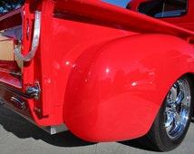 GMC Model 100 Pickup Truck Right Rear Close Red HD Poster Hot Rod Car Print