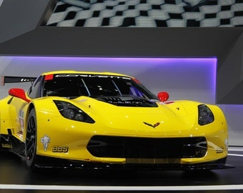 Poster of Chevrolet C7R Corvette Right Front 2 Yellow HD Print