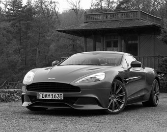 Poster of Aston Martin Vanquish 2 Left Front B&W HD Print