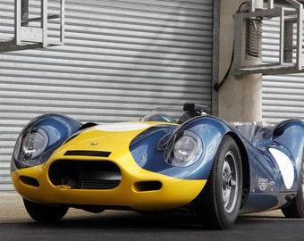 Poster of Lister Jaguar Knobbly Left Front Blue HD Print