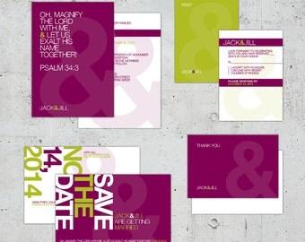 Simple Minimal Modern Helvetica Typographic Wedding Set | Printable DIY | Color Customizable
