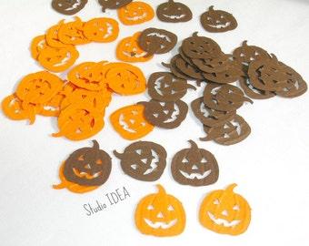 50 Brown & Orange Embossed Pumpkin, Jack o' Lantern  Cut outs, Confetti - Set of 50 pcs