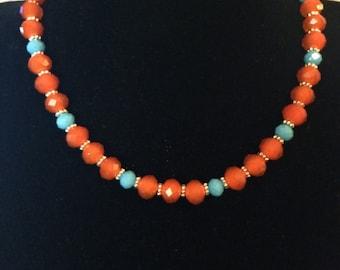 Orange and Turquoise Blue Beaded Necklace