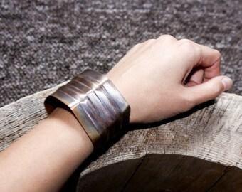 Steampunk cuff bracelet - red copper