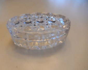 CRYSTAL TRINKET DISH with Lid