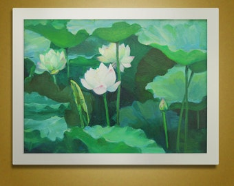 Flower Painting Canvas Art, Original Oil Painting Handmade, Lotus Painting, Wall art