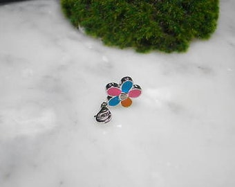Charm Blossom colorful enamel pendant necklace Swarovski Summer Pop Art
