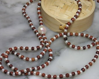 TOM K Mala Indian summer pendant Beads Teak wood pearls Chain necklace ring