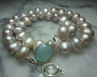 TOM K Necklace Switch it pendant Pearl biwa Gems Moonstone Chalcedony Smoky quartz Gold  Ring