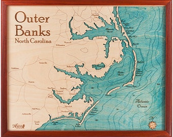 Outer banks map  Etsy