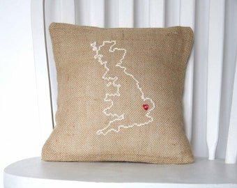 UK Embroidered Burlap Cushion - Burlap Pillow - My Favourite Place Cushion - Personalised Pillow
