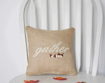 Fall Pillow Autumn Cushion Thanksgiving Embroidered Burlap