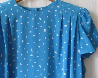 Vintage 80s Liz Claiborne Designer Dress; Tunic dress; Sky Blue midi Dress; Short Sleeved dress; summer dress; 80s fashion; day dress