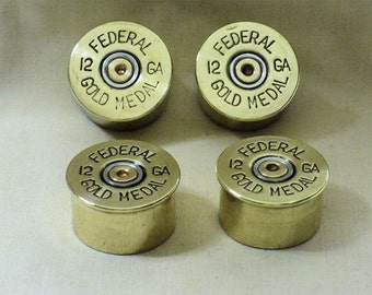 "4 Brass Guitar Knobs Shotgun Shell Higher, Federal 1/2"" High"