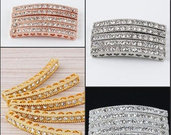 10pcs Clear Crystal Rhinestones Curved SideWays Tube Bar Connector Beads fit making Bracelet Jewelry findings
