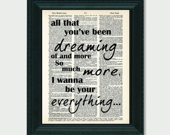 All That You've Been Dreaming Of Your Everything lyrics inspired by Keith Urban Dictionary Page Art Wedding Song Lyrics