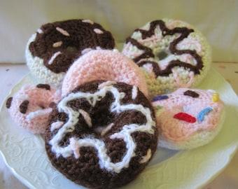 Crochet Donut, amigurumi playfood, plush doughnut w/ chocolate, strawberry, or vanilla frosting and sprinkles