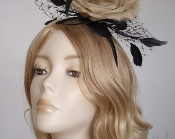 LARGE FLOWER FASCINATOR, Silk flower, coque,biot feathers, on a small base and headband, Colour Antique Gold and Black