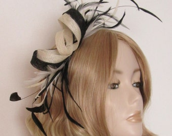 BLACK and IVORY FASCINATOR, Sinamay, with an Array of feathers, on a 5mm silver headband