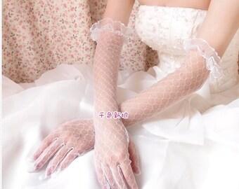 wedding gloves Bridal gloves lace gloves ivory long gloves