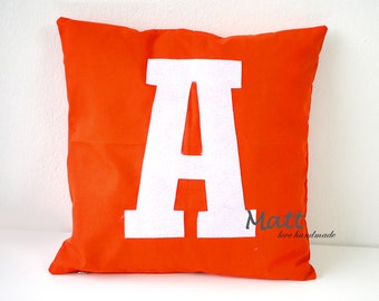 16x16 inches A-Z Alphabet pillow case,Letter pillow case,Red coral cushion cover, Red pillow case, decorative pillow case