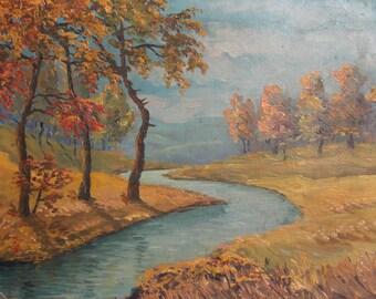 Antique oil painting river scene