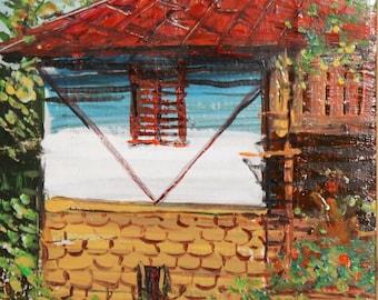 1970 landscape impressionist oil painting signed