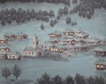 Winter landscape antique oil painting
