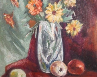 Vintage oil painting still life flowers & fruits