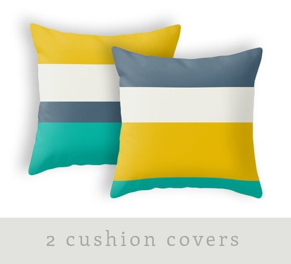 2 Decorative pillows Teal peach yellow blue and white Teal