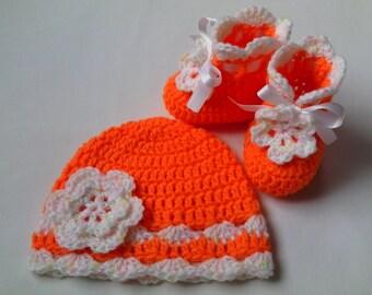 Crochet Baby Hat and Booties Set gift orange flower