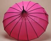 Hot Pink Pagoda Umbrella, Bridal Umbrella Parasol, Wedding Umbrella, Waterproof Rain Umbrella, Sun Umbrella, Bridal Shower Umbrella BTS12A-8