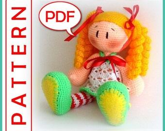 Lovely Doll in striped socks-Crochet Amigurumi toy pattern PDF