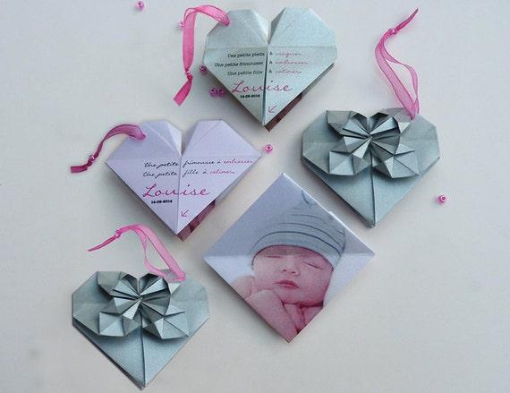 articles similaires faire part naissance origami coeur sur etsy. Black Bedroom Furniture Sets. Home Design Ideas